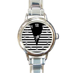 Black & White Stripes Big Triangle Round Italian Charm Watch
