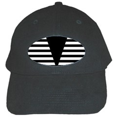 Black & White Stripes Big Triangle Black Cap