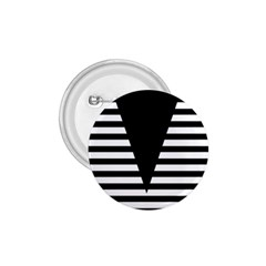Black & White Stripes Big Triangle 1 75  Buttons