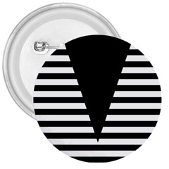 Black & White Stripes Big Triangle 3  Buttons