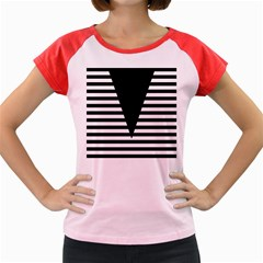 Black & White Stripes Big Triangle Women s Cap Sleeve T Shirt