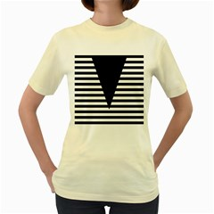 Black & White Stripes Big Triangle Women s Yellow T Shirt