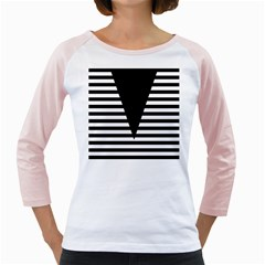 Black & White Stripes Big Triangle Girly Raglans