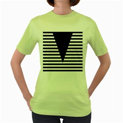 Black & White Stripes Big Triangle Women s Green T Shirt