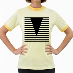 Black & White Stripes Big Triangle Women s Fitted Ringer T Shirts