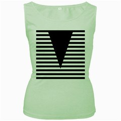 Black & White Stripes Big Triangle Women s Green Tank Top