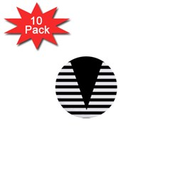 Black & White Stripes Big Triangle 1  Mini Buttons (10 Pack)