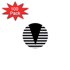 Black & White Stripes Big Triangle 1  Mini Buttons (100 Pack)