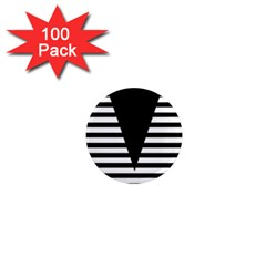 Black & White Stripes Big Triangle 1  Mini Magnets (100 Pack)