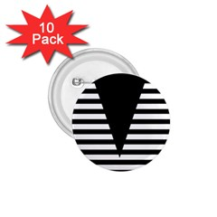 Black & White Stripes Big Triangle 1 75  Buttons (10 Pack)