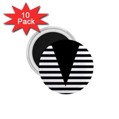 Black & White Stripes Big Triangle 1 75  Magnets (10 Pack)