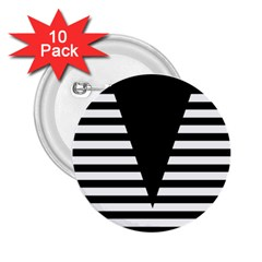 Black & White Stripes Big Triangle 2 25  Buttons (10 Pack)