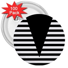 Black & White Stripes Big Triangle 3  Buttons (100 Pack)