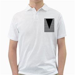 Black & White Stripes Big Triangle Golf Shirts