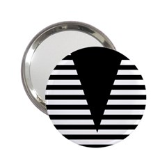 Black & White Stripes Big Triangle 2 25  Handbag Mirrors