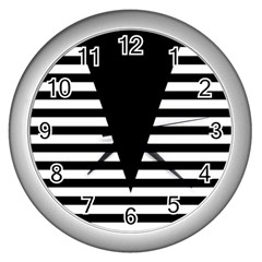 Black & White Stripes Big Triangle Wall Clocks (silver)