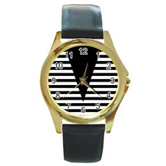 Black & White Stripes Big Triangle Round Gold Metal Watch