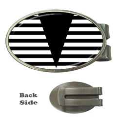 Black & White Stripes Big Triangle Money Clips (oval)