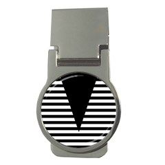 Black & White Stripes Big Triangle Money Clips (round)