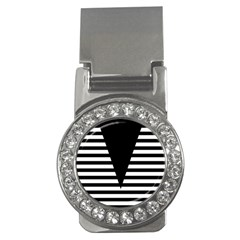Black & White Stripes Big Triangle Money Clips (cz)