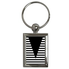 Black & White Stripes Big Triangle Key Chains (rectangle)