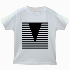 Black & White Stripes Big Triangle Kids White T Shirts