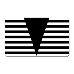 Black & White Stripes Big Triangle Magnet (rectangular)
