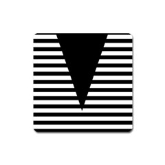 Black & White Stripes Big Triangle Square Magnet