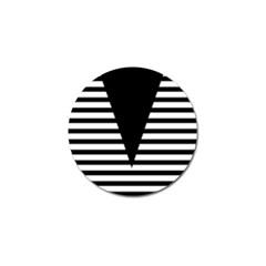 Black & White Stripes Big Triangle Golf Ball Marker (4 Pack)