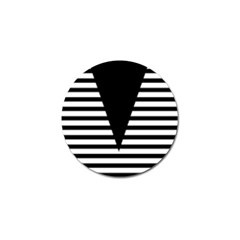 Black & White Stripes Big Triangle Golf Ball Marker (10 Pack)