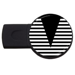 Black & White Stripes Big Triangle Usb Flash Drive Round (2 Gb)