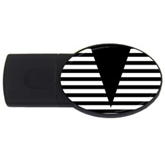 Black & White Stripes Big Triangle Usb Flash Drive Oval (2 Gb)
