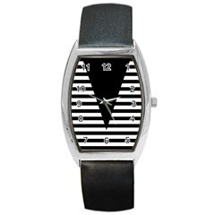 Black & White Stripes Big Triangle Barrel Style Metal Watch