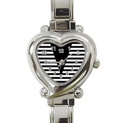 Black & White Stripes Big Triangle Heart Italian Charm Watch