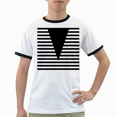 Black & White Stripes Big Triangle Ringer T Shirts