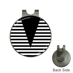 Black & White Stripes Big Triangle Hat Clips With Golf Markers