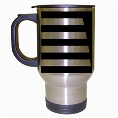 Black & White Stripes Big Triangle Travel Mug (silver Gray)
