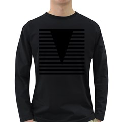 Black & White Stripes Big Triangle Long Sleeve Dark T Shirts
