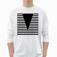 Black & White Stripes Big Triangle White Long Sleeve T Shirts