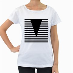 Black & White Stripes Big Triangle Women s Loose Fit T Shirt (white)