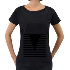 Black & White Stripes Big Triangle Women s Loose Fit T Shirt (black)