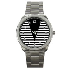Black & White Stripes Big Triangle Sport Metal Watch