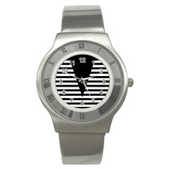 Black & White Stripes Big Triangle Stainless Steel Watch