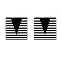 Black & White Stripes Big Triangle Cufflinks (square)