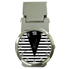 Black & White Stripes Big Triangle Money Clip Watches