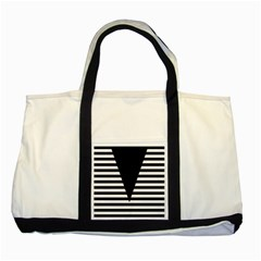 Black & White Stripes Big Triangle Two Tone Tote Bag