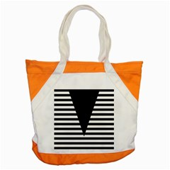 Black & White Stripes Big Triangle Accent Tote Bag