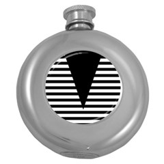 Black & White Stripes Big Triangle Round Hip Flask (5 Oz)