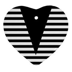 Black & White Stripes Big Triangle Heart Ornament (2 Sides)