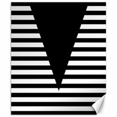 Black & White Stripes Big Triangle Canvas 8  X 10